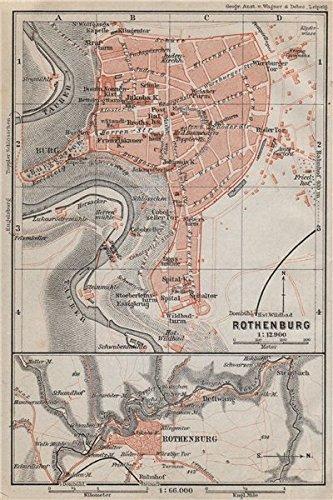rothenburg ob der tauber town city stadtplan bavaria deutschland 1910 old map