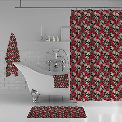 iPrint Bathroom 4 Piece Set Shower Curtain Floor mat Bath Towel 3D Print,Blossoms Halloween Inspired Retro Gothic Pattern,Fashion Personality Customization adds Color to Your Bathroom.