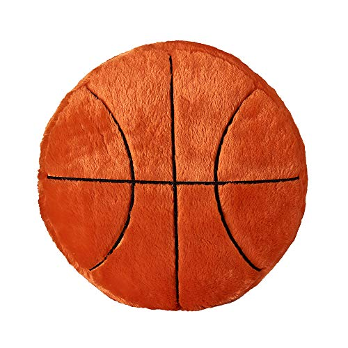 (Plush Pillow Sports Theme Stuffed Throw Pillows Round Shape Soft Back Cushion Sports Toy Gift for Kids Home Office Sofa Decor (Basketball) )