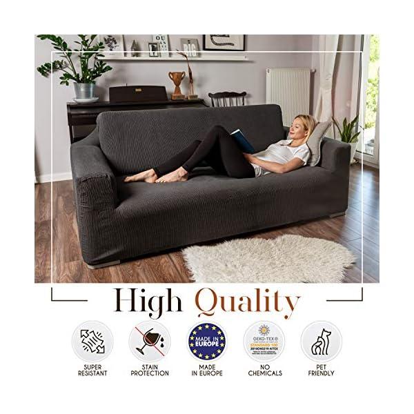 Dreamzie – Housse de Canapé Extensible 1 Place – 60% Coton Recyclé – Certifié Oeko-TEX® – Fabriquée en Espagne – Beige