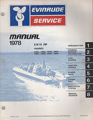 1978 EVINRUDE OUTBOARD 9.9/15 HP SERVICE MANUAL P/N 5394 (635) ()