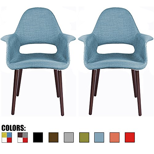 2xhome – Set of 2, Blue Mid Century Modern Upholstered Fabric Organic Accent Living Room Dining Chair Armchair Set with Back Armrest Dark Walnut Wood Wooden Legs for Kitchen Bedroom