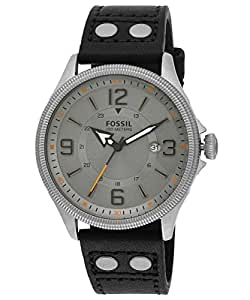Fossil Men's FS4937 Recruiter Stainless Steel Watch with Black Leather Band