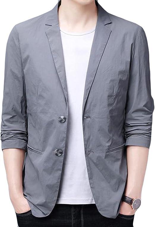 AOZUOメンズ テーラード ジャケット 夏 フォーマル 薄 ジャンパー 7分袖 サマー ジャケット メンズ カジュアル アウター おしゃれ スーツジャケット ビジネス