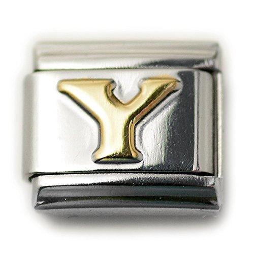 Dolceoro Initial Y Letter Alphabet, 9mm Type Italian Modular Charm Bracelet Link - Stainless Steel ()