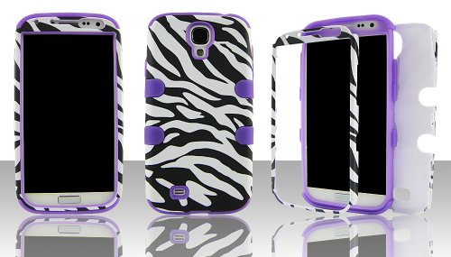 Silicone Skin Zebra (Samsung S4 i9500 hybrid 3 in 1 Black & White Zebra with Purple Gel - (Silicon Gel inside, Hard Plastic Outside) Case Cover Snap-On)
