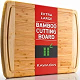 Organic Bamboo Cutting Board with Drip Groove by Kawaiian - Extra Large 18 x 12.5 Inch - Professional Grade Wooden Cutting Boards for Kitchen - Eco-Friendly Wood Cutting Board / Chopping Board