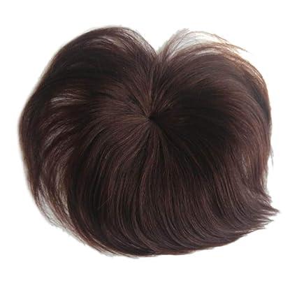 Remeehi - Sujetador de pelo humano con base de seda recta y atado a mano,