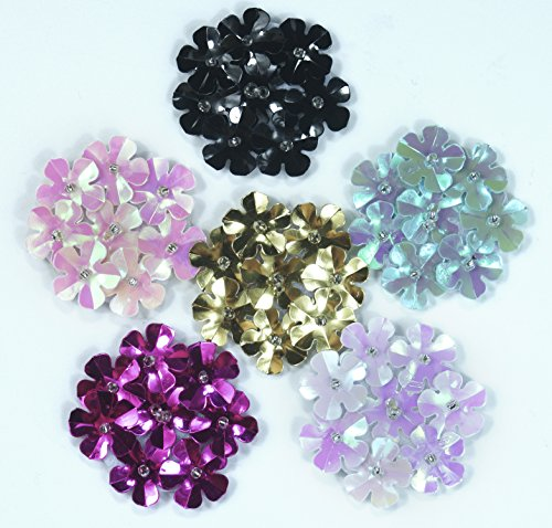 All in ONE Flatback Flower Patches Embellishments with Spangle Sequins for DIY Craft (Sequin Flower)