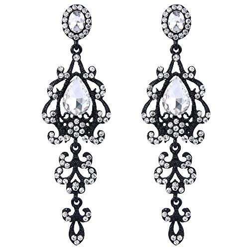 (BriLove Wedding Bridal Dangle Earrings for Women Victorian Style Crystal Teardrop Chandelier Earrings Clear Black-Silver-Tone)