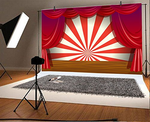 LFEEY 7x5ft Red Curtain Stage Backdrop Photo Booth Props Cartoon Wood Floor White and Red Stripes Photo Background for Birthday, Party, Events Decorations by LFEEY (Image #1)