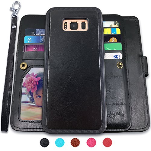 Galaxy S8 Plus Cases,Magnetic Detachable Lanyard Wallet Case with [8 Card Slots+1 Photo Window][Kickstand] for Galaxy S8 Plus-6.2 inch, CASEOWL 2 in 1 Premium Leather Removable TPU Case(Black)