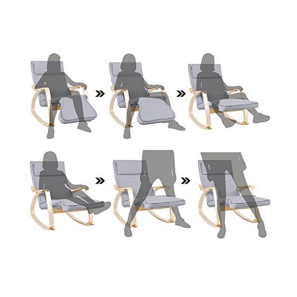 SONGMICS Fauteuil à Bascule, Rocking Chair, avec Repose-pied, Réglable en 5 Niveaux, Charge max 150 kg, Gris LYY42G