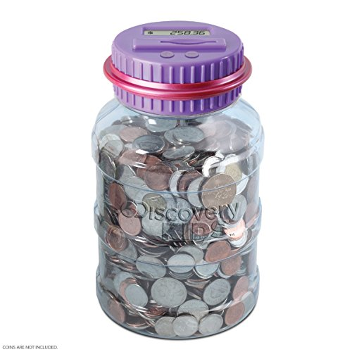 DISCOVERY KIDS Digital Coin-Counting Money Jar with LCD Screen, Keeps Track of Balance, Twist Off Lid, US Currency, Battery Operated (Purple)