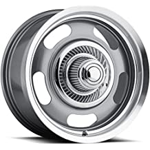 15 inch 15x10 Vision Rally Silver wheel rim; dual drilled 5x4.5 5x114.3 / 5x4.75 5x120.65 with a -12 offset. Part Number: 55-5104