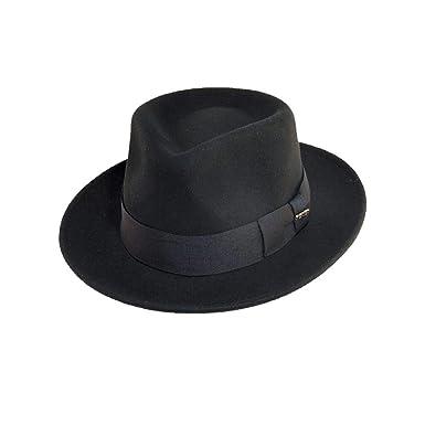 c1e9051a86d485 Scala Classico Men's Crushable Water Repelant Wool Felt Fedora Hat, Black,  Medium