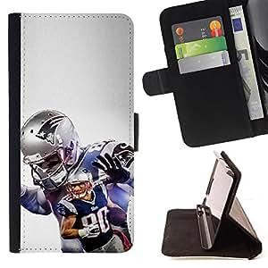 - Patriot Football - - Prima caja de la PU billetera de cuero con ranuras para tarjetas, efectivo desmontable correa para l Funny HouseFOR Samsung Galaxy S4 Mini i9190