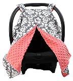 Dear Baby Gear Deluxe Car Seat Canopy Custom Minky Print Grey and White ...