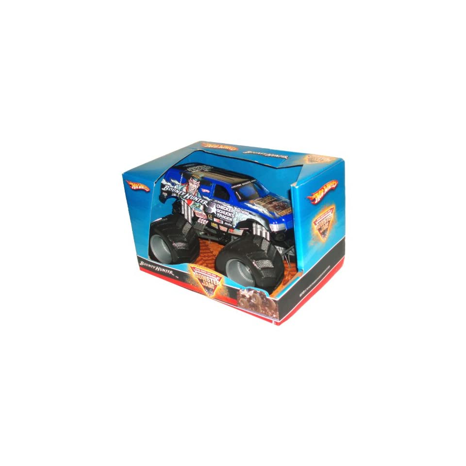 Hot Wheels Monster Jam 124 Scale Die Cast Official Monster Truck 2008 Series   BOUNTY HUNTER (Checker Schucks Kragen Auto Parts) with Monster Tires, Working Suspension and 4 Wheel Steering (Dimension 7 L x 5 1/2 W x 4 1/2 H)