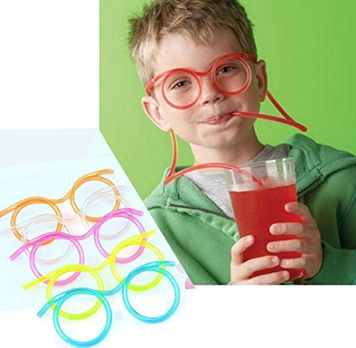 URTop 10Pcs Multi Color Novelty Soft Plastic Straw Glasses Reusable DIY Drinking Straw Tube Eyeglasses Bar Supplies For Kids Baby Birthday Party Events Drinkware