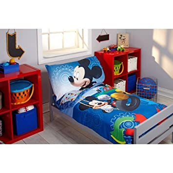 4 Piece Disney Mickey Mouse Adventure Day Toddler Bedding Set