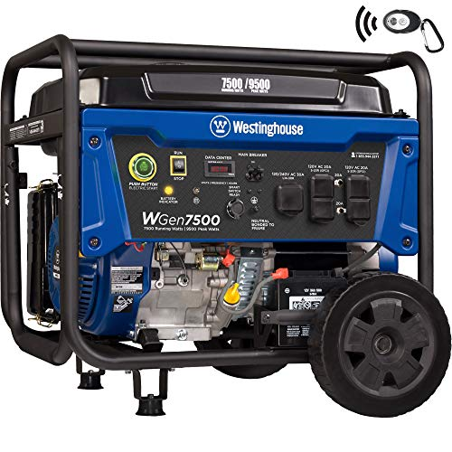 Westinghouse WGen7500 Portable Generator with Remote Electric Start - 7500 Rated Watts & 9500 Peak Watts - Gas Powered - CARB Compliant - Transfer Switch Ready (Gas Generator Natural)