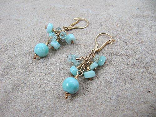 Larimar, Aquamarine Earrings