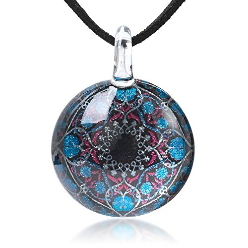 (Chuvora Hand Blown Glass Jewelry Blue Pink Mandala Art Round Pendant Necklace, 17-19 inches)