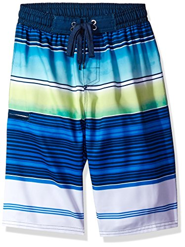 Full Elastic Swim Trunks - Burnside Big Boys' Knock Out Full Elastic Swim Trunk, Multi Navy, Small