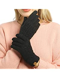 Women's Winter Warm Touch Screen Gloves Cable Knit Wool Fleece Lined Touchscreen Texting Mittens for Women
