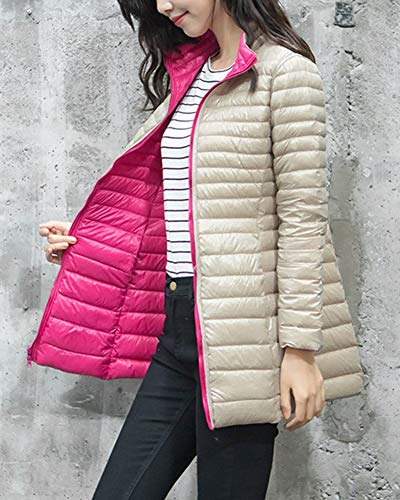 Winter Puffer Ultra Champagne Women's Coat Jacket Rose GladiolusA Light Long Packable 57fxZnnwYq