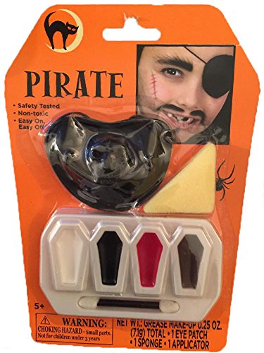 Halloween Pirate Makeup Kit - Pirate Makeup Kit with Eye Patch - Safe Non Toxic Pirate (Pirate Halloween Make Up)