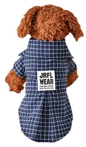 Freerun Soft Casual Dog Plaid Shirt Gentle Dog Western Shirt Dog Clothes Dog Shirt Costume - Navy, L