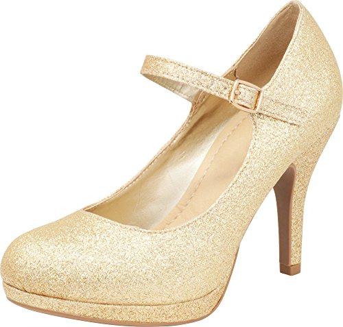 Cambridge Select Women's Round Toe Mary Jane Buckle Padded Comfort Platform Stiletto High Heel Pump,10 M US,Gold Glitter ()