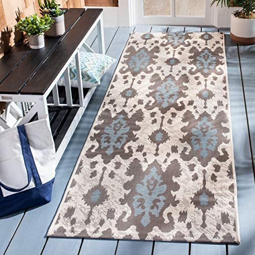 Safavieh Courtyard Collection CY7276-79A18 Beige Dark Beige and Aqua Weft Indoor Outdoor Area Rug 2 x 3 7
