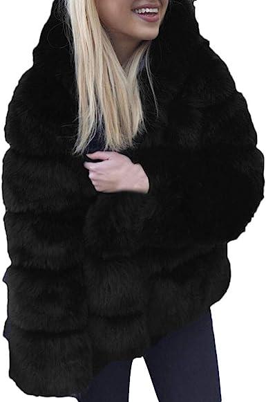 Womens Winter Warm Faux Fox Fur Collar Hooded Mink Fur Coats Parka New Overcoats