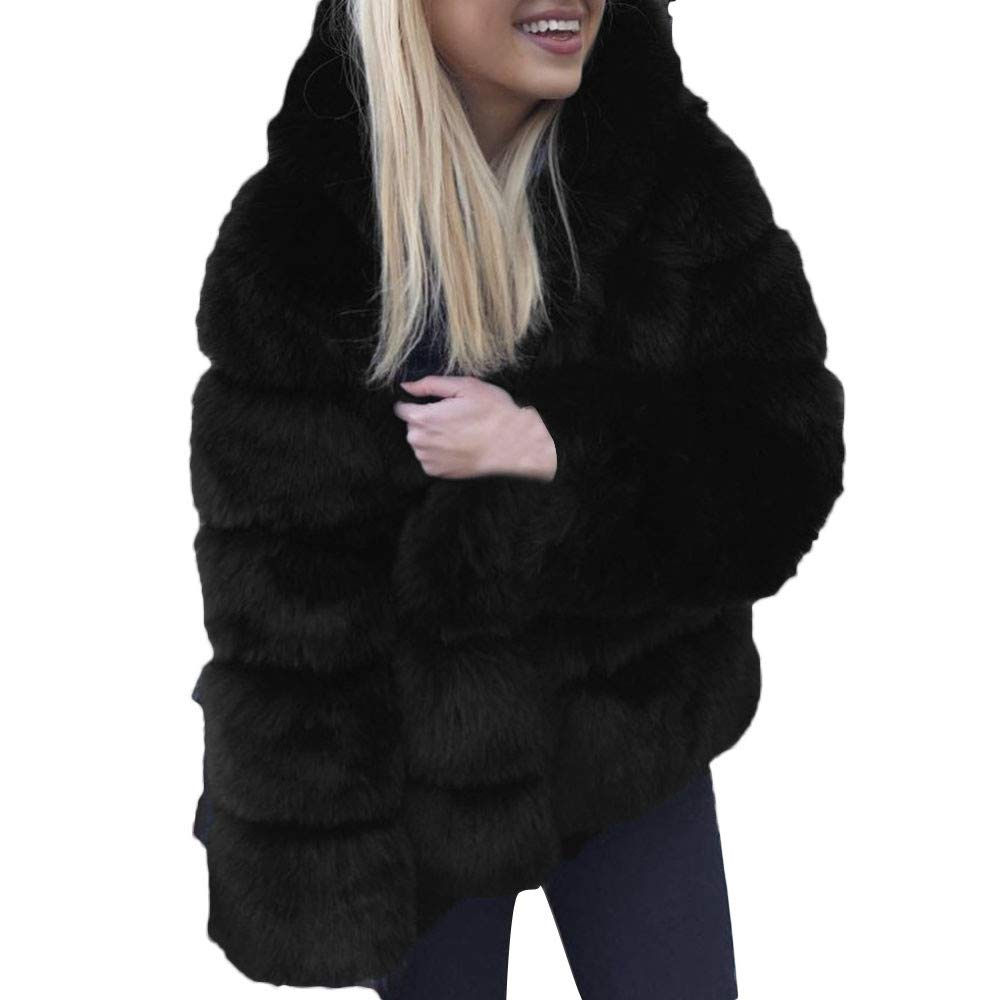 Wokasun.JJ Women Mink Coats Winter Hooded New Faux Fur Jacket Warm Thick Outerwear Jacket Black S