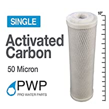 Single 2.5x10 in 50 Micron Carbon Block Water Filter Whole House RO CTO