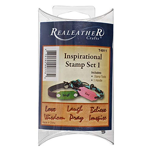 Inspirational Leather Stamping Set - Inspirational Word Stamps for Leatherwork and Crafting - 6 Script Word Stamp Heads, 1 Handle, and Instructions (Set 1)]()