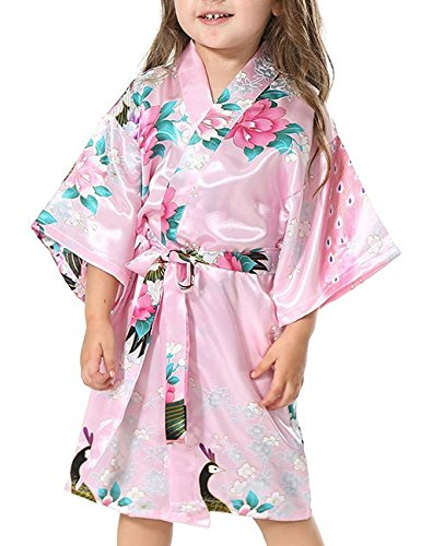 Yidarton Girls Peacock Satin Kimono Robe Fashion Bathrobe Nightgown Pink 10