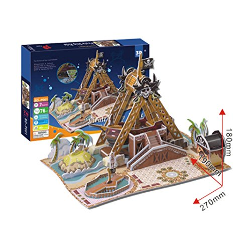 """Ancerson® 3D Puzzle Jigsaw kit The Corsair Ship 76PCS Piece 10.6""""x7.48""""x7"""" Expandable Polystyrene Paper for Children Kid Toy Gift"""