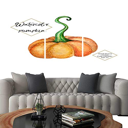 UHOO Canvas Print Wall Art Vector Watercolor Pumpkin Isolated on White Background Hand Painted Hand Drawn Vegetable Halloween Thanksgiving Autumn Illustration for Cards Label Invitation Web Design