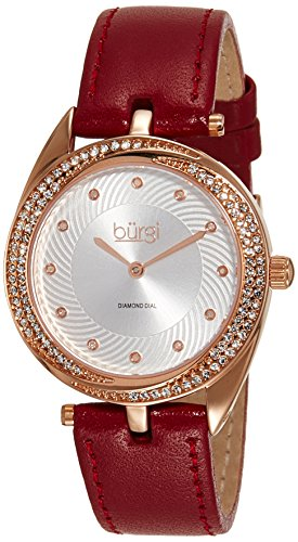 Crystal Red Strap Watch (Burgi Women's BUR122BUR Diamond & Crystal Accented Swirl Design Rose Gold and Red Leather Strap Watch)