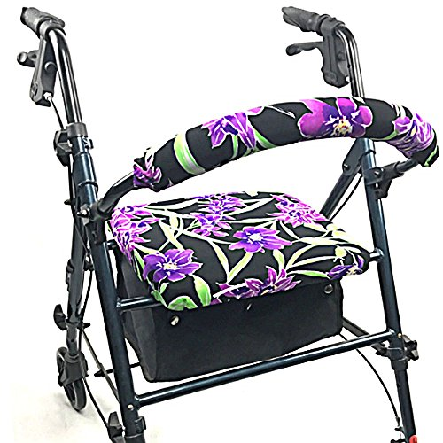 Crutcheze Purple Flowers Rollator Walker Seat and Backrest Covers Designer Fashion Accessories Made in USA