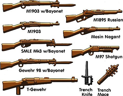 BrickArms WWI Trench Pack for Minifigures- Lego Compatible Weapons- 10 pcs (Best Weapons Of Ww1)