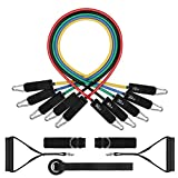 whatafit Resistance Bands Set (11pcs), Whatafit Workout Bands Exercise Bands with Door Anchor, Handles, Ankle Straps for Resistance Training, Physical Therapy, Home Workouts