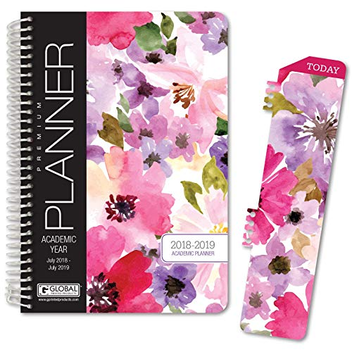 HARDCOVER Academic Year Planner 2018-2019 - 5.5x8 Daily Planner/Weekly Planner/Monthly Planner/Yearly Agenda. Bonus Bookmark (Spring Floral)
