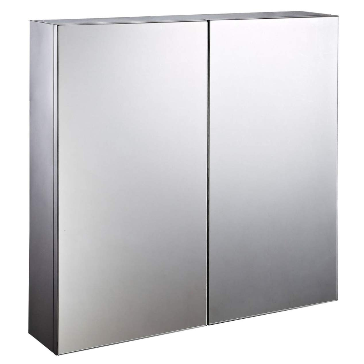 HOMCOM Stainless Steel Wall mounted Bathroom Mirror Storage Cabinet Double Doors 600mm (W) Sold by MHSTAR