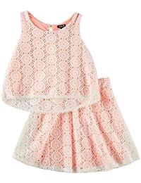 Big Girls Circle Lace Overlay Tank Top & Skirt Set