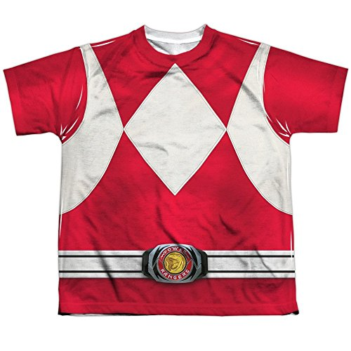 [Power Rangers Children's Live Action TV Series Red Costume Big Boys Front Print] (Yellow Power Ranger Costumes Child)